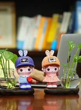 创意家居摆件饰品北欧现代简约客厅办公室桌面小摆设水培花瓶装饰