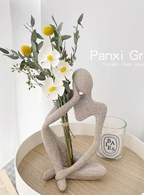 北欧风真花干花花束抽象艺术人物雕像家居摆件砂岩树脂桌面装饰品