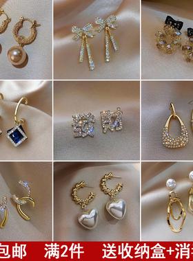 925纯银耳钉高级感耳环女2021年新款潮韩国网红耳饰品珍珠长耳坠