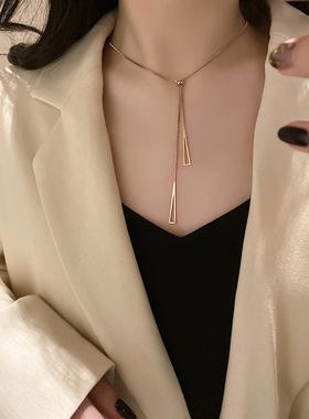 钛钢小众设计感简约项链女ins网红潮轻奢气质锁骨链个性脖子饰品