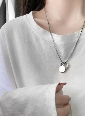 王一博同款戒指项链2021年新款女ins冷淡风嘻哈情侣卫衣链配饰品