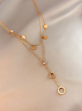 高级感不褪色钛钢项链女锁骨链双层链ins冷淡风网红气质大气饰品
