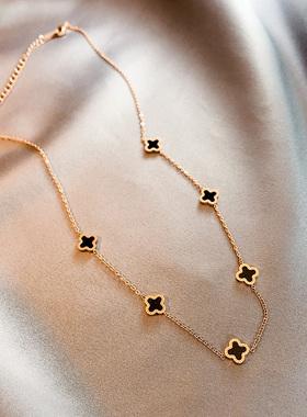 钛钢18k金色四叶草项链女不掉色锁骨链时尚气质韩国饰品百搭配饰