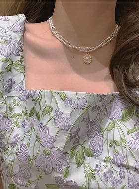 巴洛克项链~双层珍珠颈链时尚锁骨链choker脖子饰品女配饰轻奢