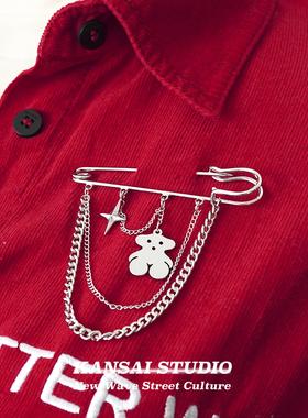 KANSAI可爱小熊胸针网红潮链条百搭个性大别针西装设计感扣针配饰