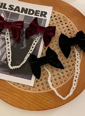 超仙珍珠链条丝绒蝴蝶结发夹甜美流苏发卡优雅复古边夹网红发饰品