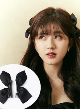 赵露思同款黑色蝴蝶结发夹日韩边夹抖音网红对夹可爱兔耳朵发饰品