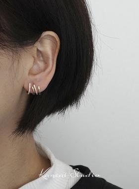 KANSAI新款潮水钻金色不规则耳钉时尚个性特别设计感气质女耳饰品