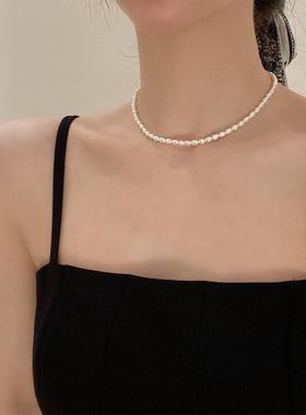 法式高级感配饰天然淡水小珍珠项链女锁骨链轻奢小众设计感颈链