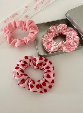 3个装~粉色系爱心花朵发绳甜美百搭发圈大肠圈少女发饰日韩头饰品