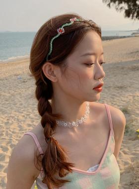 春夏浪漫水晶花朵发箍超仙头箍手工编织发卡少女心发饰日韩头饰品