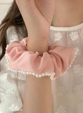 柔光滤镜~法式珍珠发圈ins少女发绳大肠圈甜美百搭发饰日韩头饰品