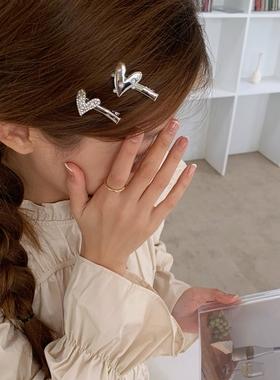 精致水钻珍珠爱心发夹甜美百搭刘海夹合金发卡少女边夹头夹发饰品