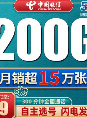 电信纯流量卡上网卡无线不限速5g手机电话大王卡0月租全国通用