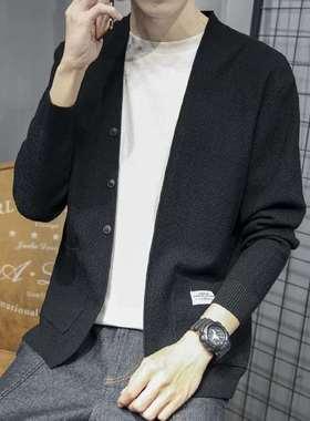 秋季青年针织衫开衫外套男士毛衣韩版V领纯色线衣毛衫潮牌男装