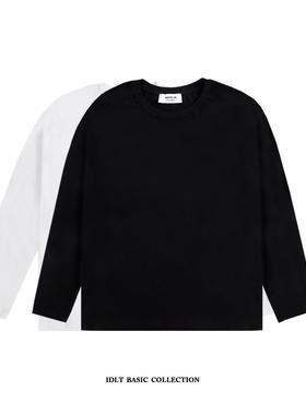 【限量福利】2件装!白彧 纯棉纯色重磅加厚长袖T恤 打底衫男装黑