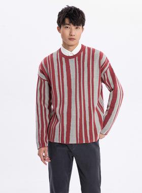 NOME男装毛织T恤宽松长袖套头针织衫卫衣红色毛衣外套男MLIC0109