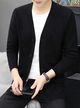 2021秋季新款针织衫男纯色开衫外穿男装外套休闲修身毛衣服潮男黑