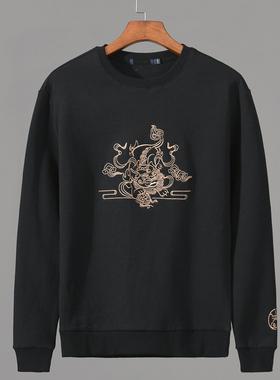 2021秋季新款男装圆领卫衣动物刺绣青年长袖潮流弹力黑色套头T恤
