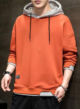 卫衣男2021春秋季新款潮流休闲宽松长袖连帽假两件长袖男装帅气