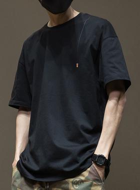 夏季黑色纯棉短袖T恤男潮牌ins国潮刺绣宽松大码男士半袖男装体恤
