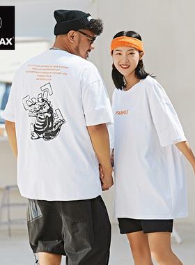 PANMAX国潮大码男装创意搞怪鳄鱼印花夏季情侣装个性休闲短袖T恤