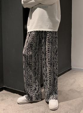 高级感男装裤子春秋季休闲长裤男潮牌设计感小众运动裤男韩版潮流