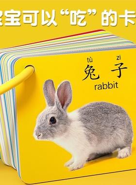 动物卡片早教认知书卡片识字益智玩具婴幼儿识图儿童宝宝启蒙数字