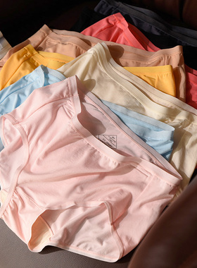 人手多条款 软弹女士莫代尔内裤 纯色包臀三角内衣 真丝内裆 薄款