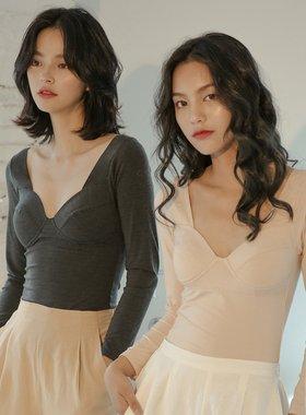 德绒无痕保暖内衣上衣薄款发热带胸垫冬季低领打底衫女士秋衣紧身