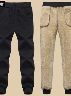 男童加绒裤子儿童冬季加厚羊羔绒棉裤大童男孩冬装外穿运动裤童装