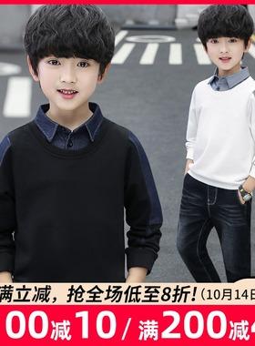 男童卫衣假两件2021秋装新款儿童中大童洋气韩版上衣童装春秋季潮