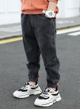 童装男童裤子2020秋冬款儿童牛仔裤男孩加绒加厚洋气棉裤保暖长裤