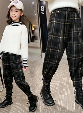 冬装女童洋气格子加绒休闲裤2020新款儿童秋冬加厚长裤童装裤子潮