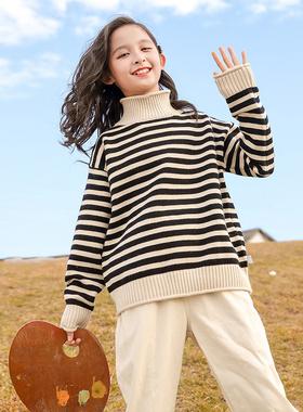 童装女童毛衣秋冬装2021新款中大儿童秋装加绒加厚打底衫女孩洋气