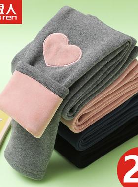 女童纯棉加绒打底裤秋冬款外穿洋气2020宝宝儿童装一体绒保暖长裤