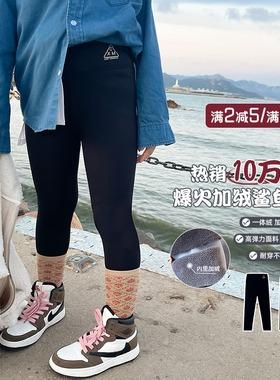 聪家女童加绒打底裤2021秋冬宝宝儿童鲨鱼裤外穿一体绒裤子韩童装