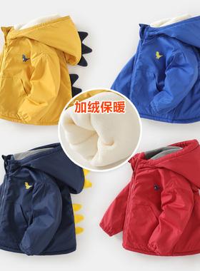 男童加绒外套冬装秋冬秋装童装宝宝儿童上衣加厚冬季婴儿棉衣棉服