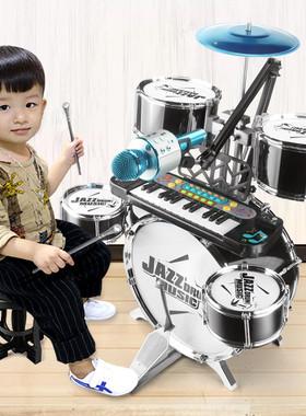 大号架子鼓儿童初学者爵士鼓玩具打鼓乐器1-3-6岁男孩宝宝鼓礼物
