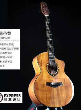 伯朗面单板民谣吉他41寸云杉木吉它初学者新手入门男女生专业乐器