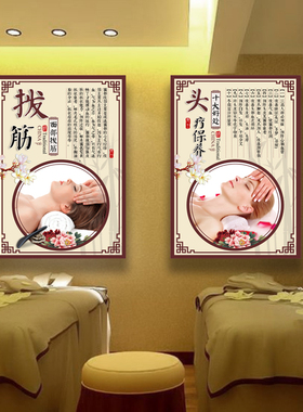 美容院装饰画背景墙壁画养生馆美体面部挂画贴画海报宣传画理疗画