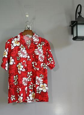 梦蓝椰海南岛服男士衬衣沙滩服三亚旅游度假服饰 夏威夷花衬衫c09