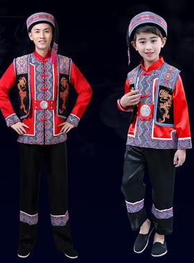 新款土家族服装男少数民族成人舞蹈演出服苗族壮族服饰表演儿童服