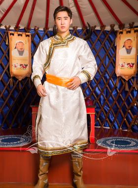 蒙古服装男士新款民族服饰长款白色蒙古袍蒙族演出服舞蹈服热卖