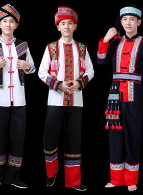 广西壮族服装男民族风云南少数民族苗族彝族演出服葫芦丝表演服饰