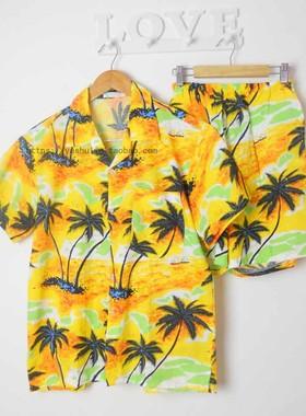 海南岛服沙滩服大码宽松男装套装夏情侣装三亚旅游服饰民族风