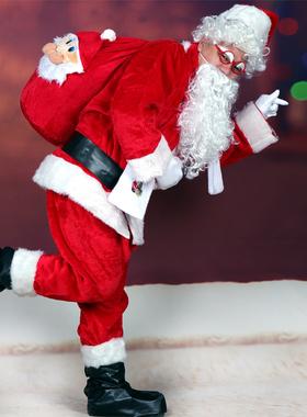 豪华加厚长毛绒圣诞老人服装成人男女圣诞节衣服大人装扮服饰套装