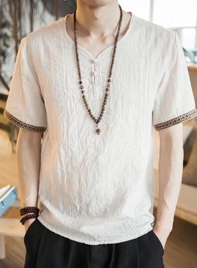 泰国男装夏装中国风棉麻短袖t恤泰式服装缅甸服饰古风汉元素上衣