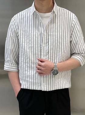 宫男装服饰2021春夏新品经典日常休闲棉质微修身中袖素条休闲衬衫
