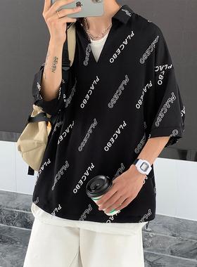 东川部落潮品服饰胖男生夏季个性字母印花显瘦花衬衫短袖大码韩系
